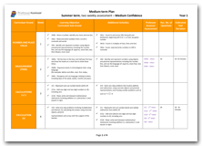 Year 1 Medium Term Planning for Summer Term with Medium Confidence Assessment Schedule download