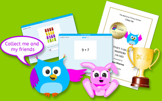 Times tables practise with trophies, collectables and certificates