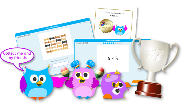 Times Tables Fun characters, questions, trophy and certificate